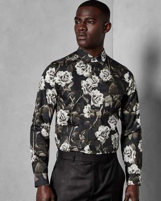 Ted Baker MAIZE Rose print modern fit cotton shirt