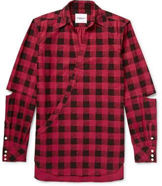 TAKAHIROMIYASHITA TheSoloist. Cutout Checked Cotton-Flannel Shirt