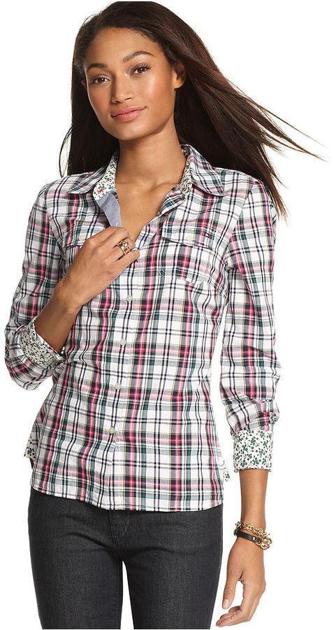 Tommy Hilfiger Long-Sleeve Plaid-Print Shirt