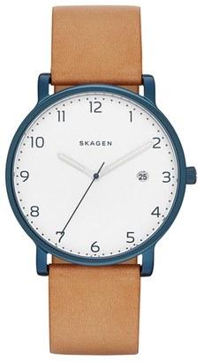 Skagen Hagen Round Leather Strap Watch, 40Mm $165 thestylecure.com