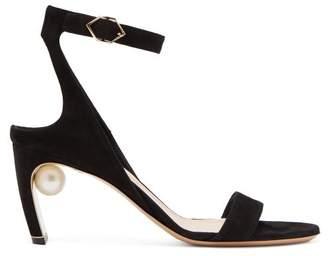 Nicholas Kirkwood Lola Faux Pearl Suede Sandals - Womens - Black
