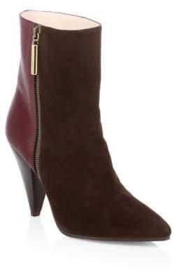 Stuart Weitzman Leather Cone Heel Ankle Boots