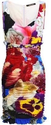 Roberto Cavalli Ruched Printed Crepe Mini Dress