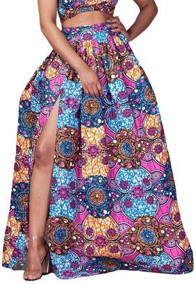 FEOYA Women's African Dress Loose Floral Printed Pleated Split Maxi Skirt High Waist A Line Dress Red Size 12-14
