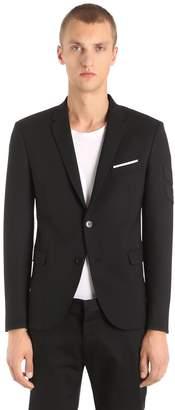 Neil Barrett Tricot Wool Jacket W/ Chevron Patches