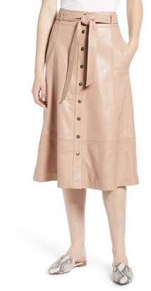 Halogen Button Front Leather Midi Skirt