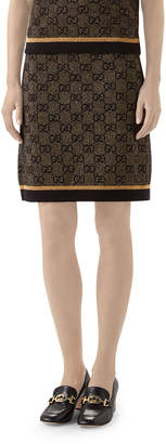 Gucci GG Jacquard Wool Skirt