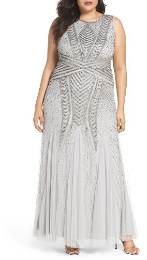 Adrianna PapellPlus Size Women's Adrianna Papell Beaded Gown