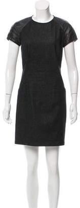 Ralph Lauren Black Label Leather-Paneled Denim Dress