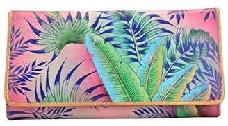 Anuschka Anchka Hand Painted Rfid Blocking Accordion Flap Wallet Tropical ISLAND Wallet