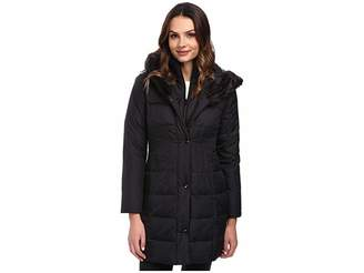 Larry Levine 3/4 Length Down Coat w/ Soft Faux Fur Trim Women's Coat