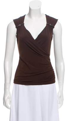 MICHAEL Michael Kors Buckle-Accented Ruched Top