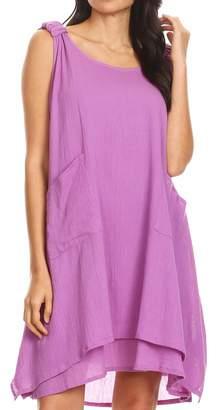 Sakkas 4340 - Genna Two Layer Sleeveless Ruched Shoulder Straps Round Neck Tent Dress - OS