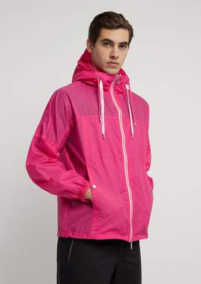 Emporio Armani Blouson In Ripstop Nylon With Logoed Drawstring And Hood With Visor