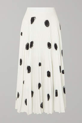 Christopher Kane Pleated Printed Crepe De Chine Midi Skirt - White