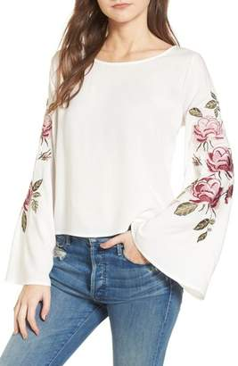 Cupcakes And Cashmere Aldona Embroidered Bell Sleeve Top