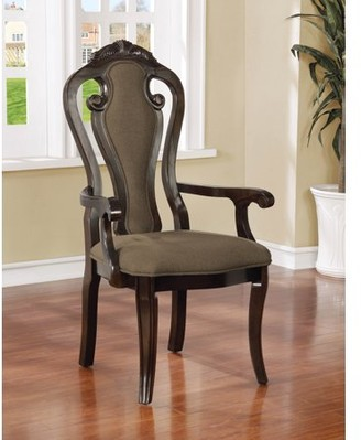 Furniture of America Darcy Traditional Queen Anne Walnut Finish Dining Arm Chair, Set of 2