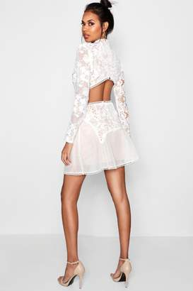 boohoo Boutique Lace Open Back Skater Dress