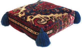 One Kings Lane Vintage Blue & Garnet Silk Pouf - Habibi Imports