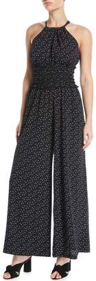 Max Studio Halter-Neck Polka Dot Smocked Wide-Leg Jumpsuit