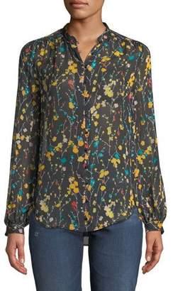 Equipment Cornelia Long-Sleeve Button-Front Floral-Print Blouse