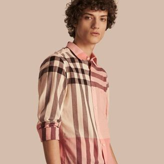 Burberry Check Cotton Poplin and Linen Shirt $325 thestylecure.com