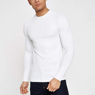 River Island White ribbed crew neck long sleeve top