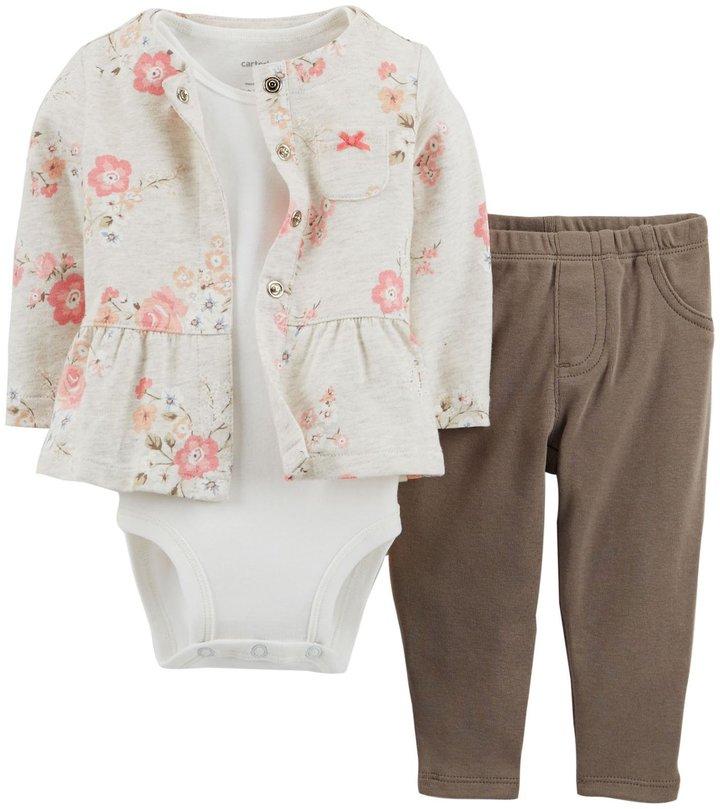 Carter's 2 Piece Cardigan Set (Baby) - Floral-3 Months