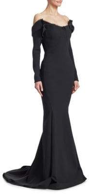 Zac Posen Off-The-Shoulder Long-Sleeve Raw Edge Gown