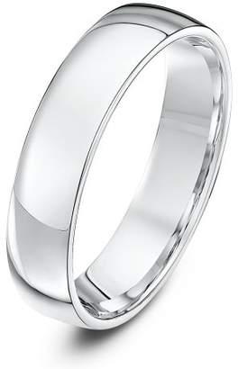 Theia Palladium 500, Heavy Weight, Court Shape 5mm Wedding Ring - Size J