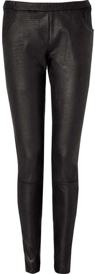 IRO Black Lizard Embossed Nancy Leather Pants