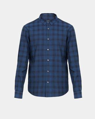 Theory Cotton Micro Plaid Hidden-Button Collar Shirt