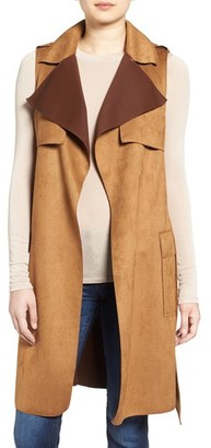 Women's Love Token Faux Suede Long Vest $150 thestylecure.com