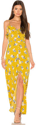 J.O.A. Flower Print Button Down Maxi in Yellow $105 thestylecure.com