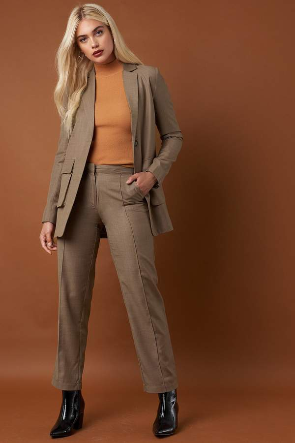 Pintuck Detail Suit Pants Dark Sand