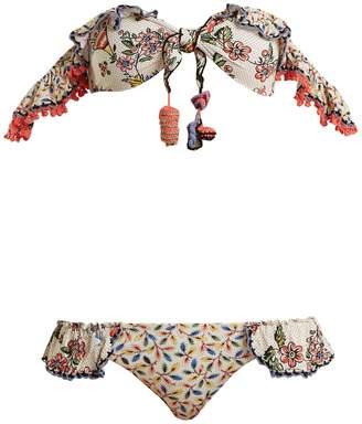 ANJUNA Ombretta off-shoulder floral-print bikini