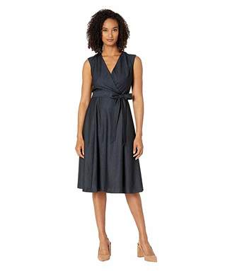 Calvin Klein A-Line Denim Dress w/ Tie Belt