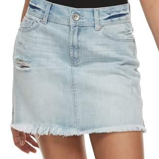 Juniors' Rewash Frayed Light Wash Jean Mini Skirt