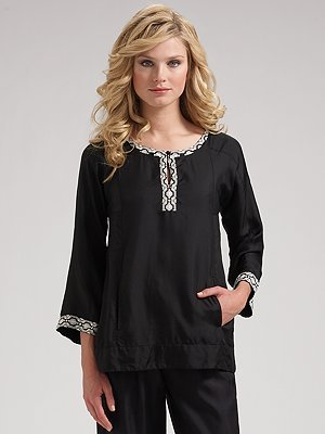 DKNY Embroidered Silk Tunic