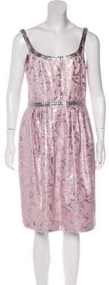 Carmen Marc Valvo Metallic Embellished Dress