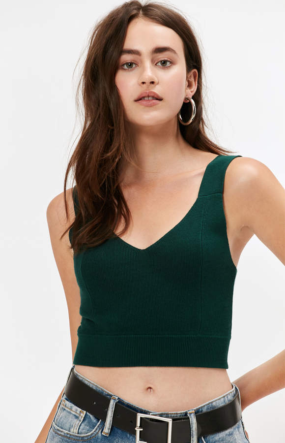 Kendall & Kylie Chunky Strap V-Neck Sweater