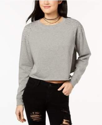 Ultra Flirt Juniors' Embellished Cropped Sweatshirt