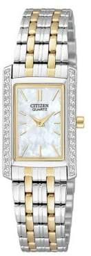 Analog Citizen Quartz Collection Crystal-Accent Rectangular Two-Tone Bracelet Watch