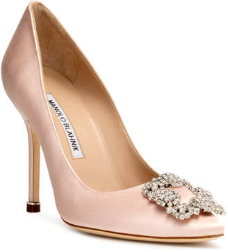Manolo Blahnik Hangisi 105 light blush satin pumps