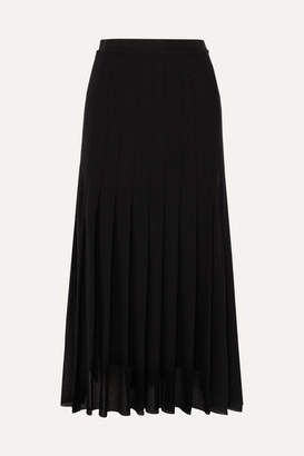 Jil Sander Pleated Georgette Midi Skirt - Black