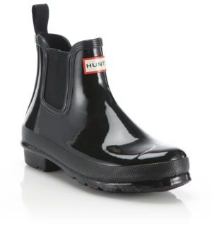 Hunter Original Gloss Short Chelsea Boots $135 thestylecure.com