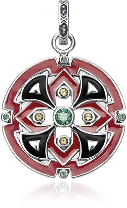 Thomas Sabo Blackened Sterling Silver, Glass-Ceramic Stone and Synthetic Corundum Round Pendant