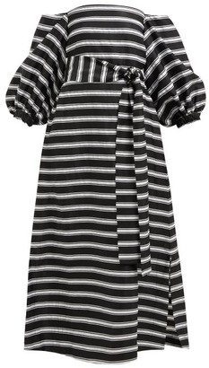 5187df6502 Lisa Marie Fernandez Rosie Off The Shoulder Striped Satin Maxi Dress -  Womens - Black White