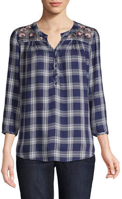 ST. JOHN'S BAY 3/4 Sleeve Henley Neck Twill Embroidered Plaid Blouse