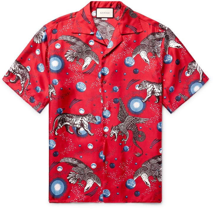 Gucci Space Animals Camp-Collar Printed Silk-Twill Shirt